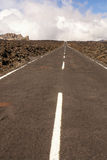 Straight road with El Teide in the background, Tenerife, Canary Royalty Free Stock Photo