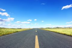 Straight Road in field. At sunny day Royalty Free Stock Images