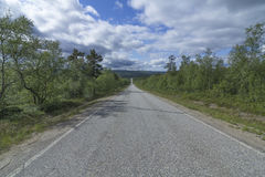 A straight road. In Finnish Lapland royalty free stock photography