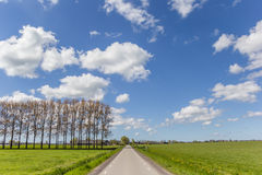 Straight road in the flat landscape of Groningen Stock Image