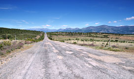 Straight road in Granadilla surroundings Royalty Free Stock Photo