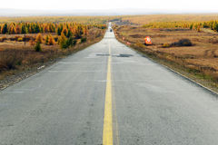 Straight road in inner mongolia Stock Image