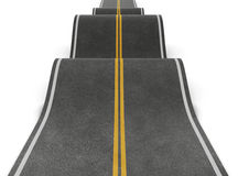 Straight road with irregularities. Bumpy road with ups and downs. 3d conceptual illustration Royalty Free Stock Photo
