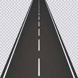 Straight road isolated on transparent background. Vector illustration. Eps 10 royalty free illustration