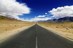 Straight Road In Leh Ladakh Stock Photo