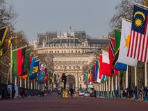 The straight road, The Mall with many countries flags. London, APR 14: The straight road, The Mall with many countries flags on APR 14, 2018 at London, United Stock Photo