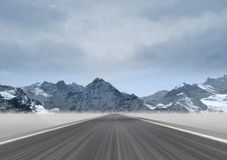 Straight road in the mountain landscape Stock Images