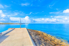 The straight road no the sea Royalty Free Stock Image