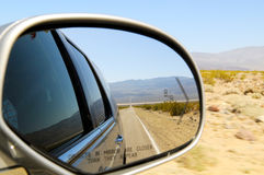 Straight road in reflection. Straight Road Reflection in car mirror, Nevada, USA Stock Image