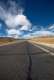 Straight road to Himalayas range, Tibet. Straight road to Himalayas range on the Friendship Highway in Tibet Stock Photography