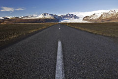 Straight Road to Skaftafell and Skaftafelljokull Glacier, Iceland Stock Photo