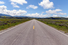 Straight Road in Wyoming Stock Image