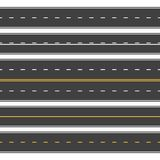Straight roads seamless. Endless asphalt street, top view roadway. Empty horizontal highway vector stock illustration