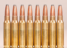 Straight row of rifle bullets Royalty Free Stock Photography
