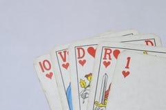 Straight royal Flush poker hand. Close up of heart Flush poker hand at poker card game Stock Photography