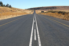Straight Rural Asphalt Road in Orange Free State, South Africa Royalty Free Stock Photography