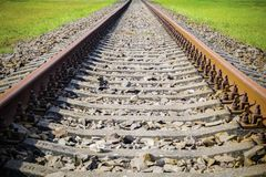 Straight rusty railway. In summer day Stock Photo