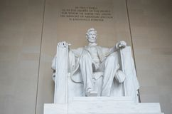 Lincoln Memorial, July 2017. Straight on shot ofthe Lincoln Memorial with writing in background Stock Photo