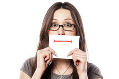 Straight smile. Girl with straight smile drawn on paper stock images