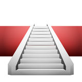 Straight staircase on red strip design element Royalty Free Stock Images
