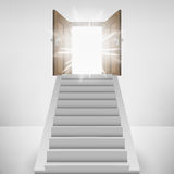Straight stairway leading to heaven door flare Stock Photo