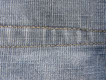 Straight stitch. On blue jeans royalty free stock image