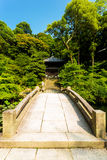 Straight Stone Bridge Over Pond Chionin Temple Stock Photos