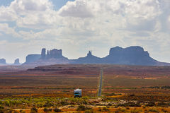 Straight stretch of highway from Monument Valley Stock Photos