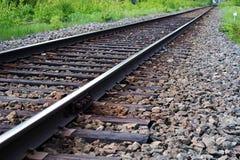 Straight train railway Stock Photo