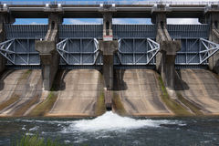 A Straight on View of A Dam Site Royalty Free Stock Photos