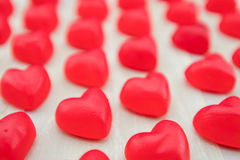 Straight View of Gummy Hearts in Lines Stock Photos