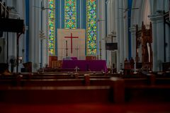 Straight view of Saint Andrew s Anglican Cathedral Singapore royalty free stock photo