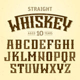 Straight whiskey label font with sample design Stock Photos