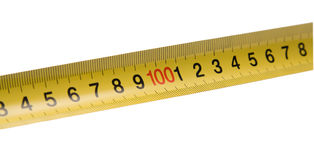Straight yellow ruler. With red number in the center. Isolated on white royalty free stock images