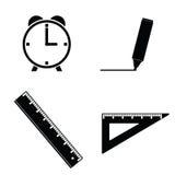Straightedge and clock black illustration Stock Photos