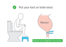 Straightens the rectum while sitting on toilet with small benches. royalty free illustration