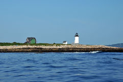 Straightsmouth Light. Lighthouse on Straightsmouth Island off Rockport, Massachusetts, viewed from the water royalty free stock photo