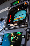 Straigth and Level. IN FLIGHT, INTERNATIONAL AIRSPACE - SUMMER 2016 Attitude Director Indicator (ADI) and electronic Horizontal Situation Indicator (eHSI) during stock image