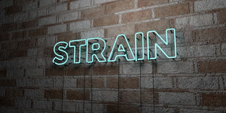 STRAIN - Glowing Neon Sign on stonework wall - 3D rendered royalty free stock illustration Royalty Free Stock Photo