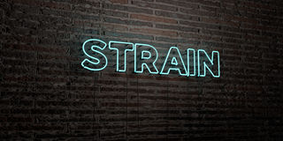 STRAIN -Realistic Neon Sign on Brick Wall background - 3D rendered royalty free stock image Stock Image