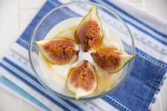 Strained yogurt with sliced figs and honey Stock Image