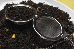 Strainer On Dry Tea Leaves Stock Photo