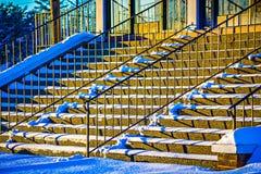 Strairs handrail and shadows at sunset Stock Photos