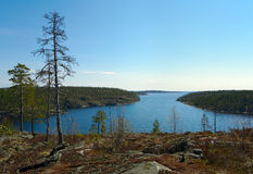 Strait. Between two big islands in Ladoga lake Royalty Free Stock Images