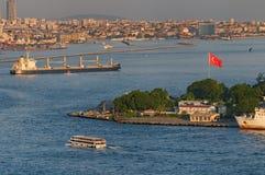 Strait of Bosphorus. Ships on the Strait of Bosphorus in Turkey stock image