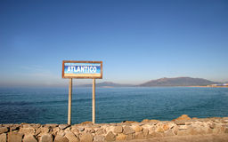 Strait of Gibraltar - Tarifa, Spain. Southern Point of Europe - The place where Atlantic Ocean meets Mediterranean Sea stock images
