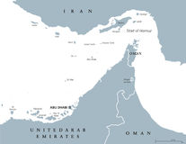 Strait of Hormuz region political map Royalty Free Stock Photography