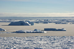 Strait between the islands of the Antarctic ice-covered and shug Stock Photos