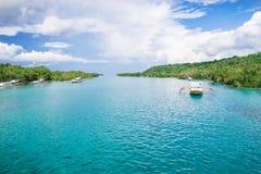 Strait between the islands and blue ocean Stock Photos
