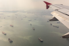 Strait of Malacca. Airpline flying over the Strait of Malacca stock photo